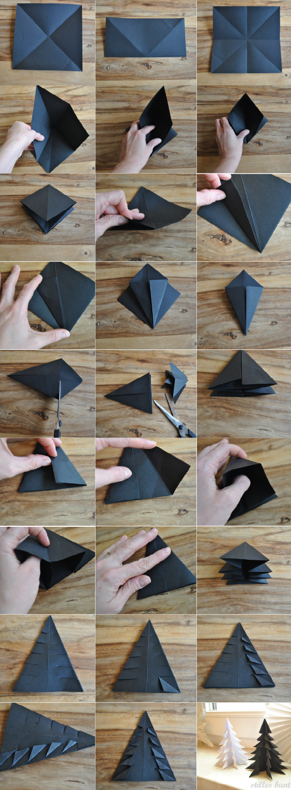 diy paper folded trees 1